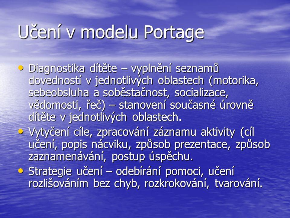 Učení v modelu Portage Diagnostika dítěte – vyplnění seznamů dovedností v jednotlivých oblastech (motorika, sebeobsluha a soběstačnost, socializace, vědomosti, řeč) – stanovení současné úrovně dítěte v jednotlivých oblastech.