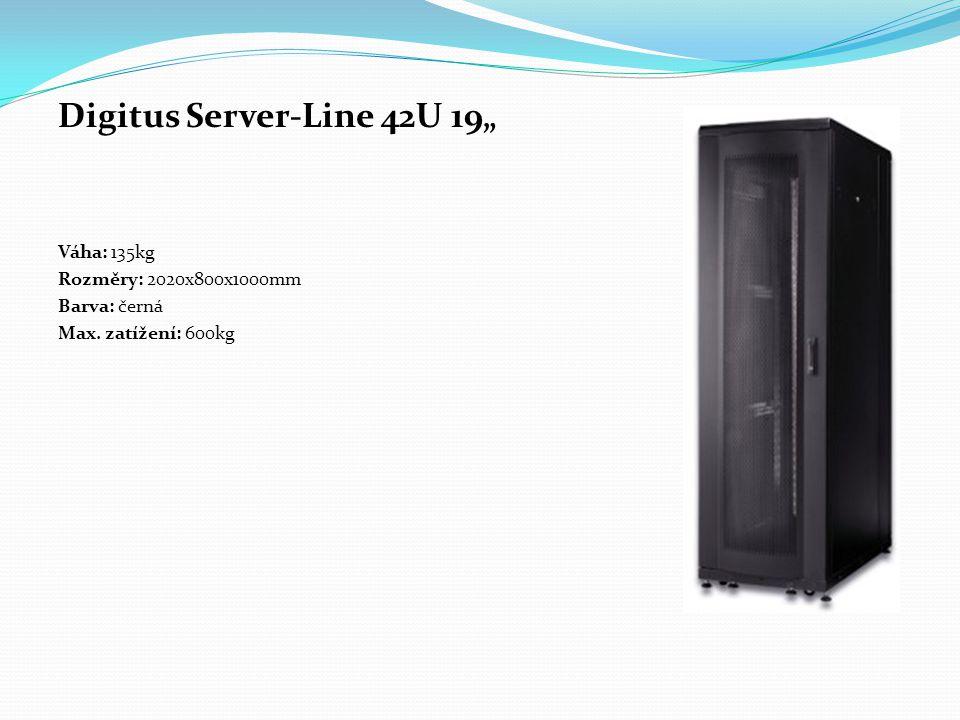 """Digitus Server-Line 42U 19"""" Váha: 135kg Rozměry: 2020x800x1000mm Barva: černá Max. zatížení: 600kg"""