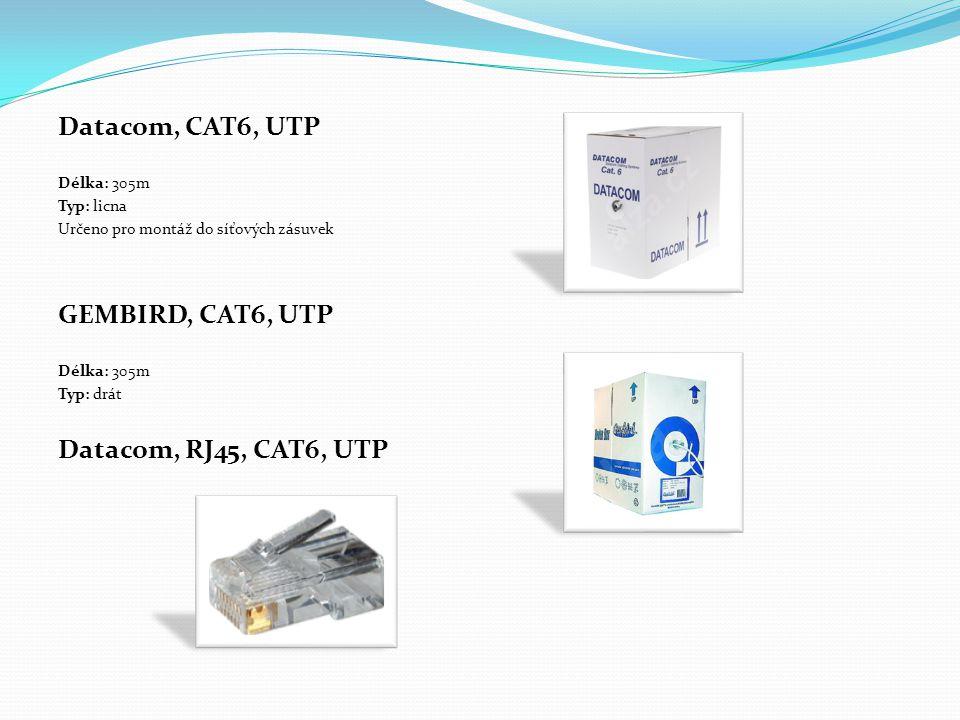 Datacom, CAT6, UTP Délka: 305m Typ: licna Určeno pro montáž do síťových zásuvek GEMBIRD, CAT6, UTP Délka: 305m Typ: drát Datacom, RJ45, CAT6, UTP