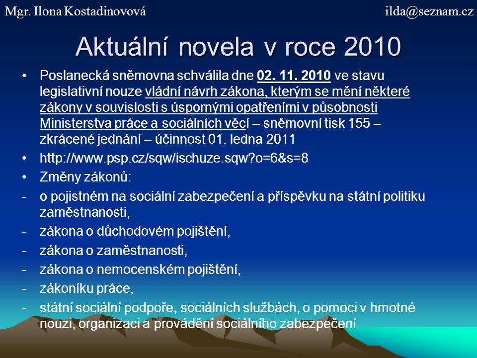 Aktuální novela v roce 2010 Poslanecká sněmovna schválila dne 02. 11. 2010 ve stavu legislativní nouze vládní návrh zákona, kterým se mění některé zák