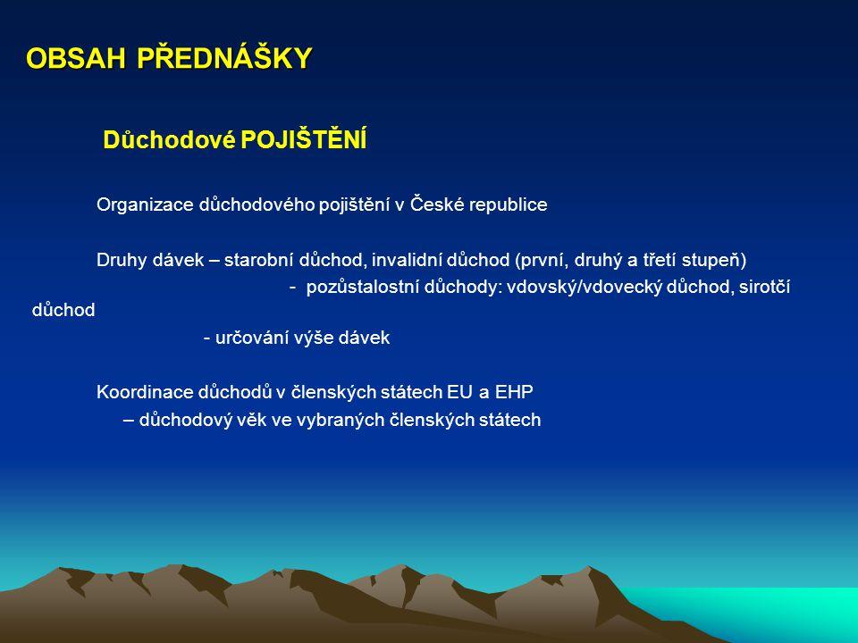 OBSAH PŘEDNÁŠKY Důchodové POJIŠTĚNÍ Organizace důchodového pojištění v České republice Druhy dávek – starobní důchod, invalidní důchod (první, druhý a