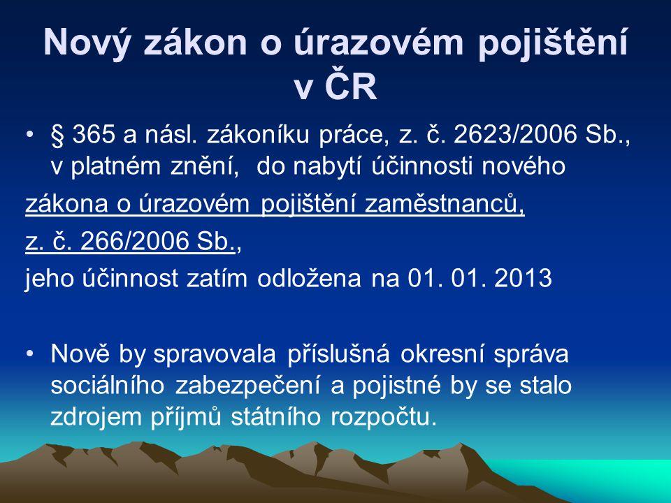 Nový zákon o úrazovém pojištění v ČR § 365 a násl. zákoníku práce, z. č. 2623/2006 Sb., v platném znění, do nabytí účinnosti nového zákona o úrazovém