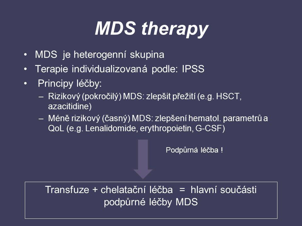 MDS therapy MDS je heterogenní skupina Terapie individualizovaná podle: IPSS Principy léčby: –Rizikový (pokročilý) MDS: zlepšit přežití (e.g. HSCT, az