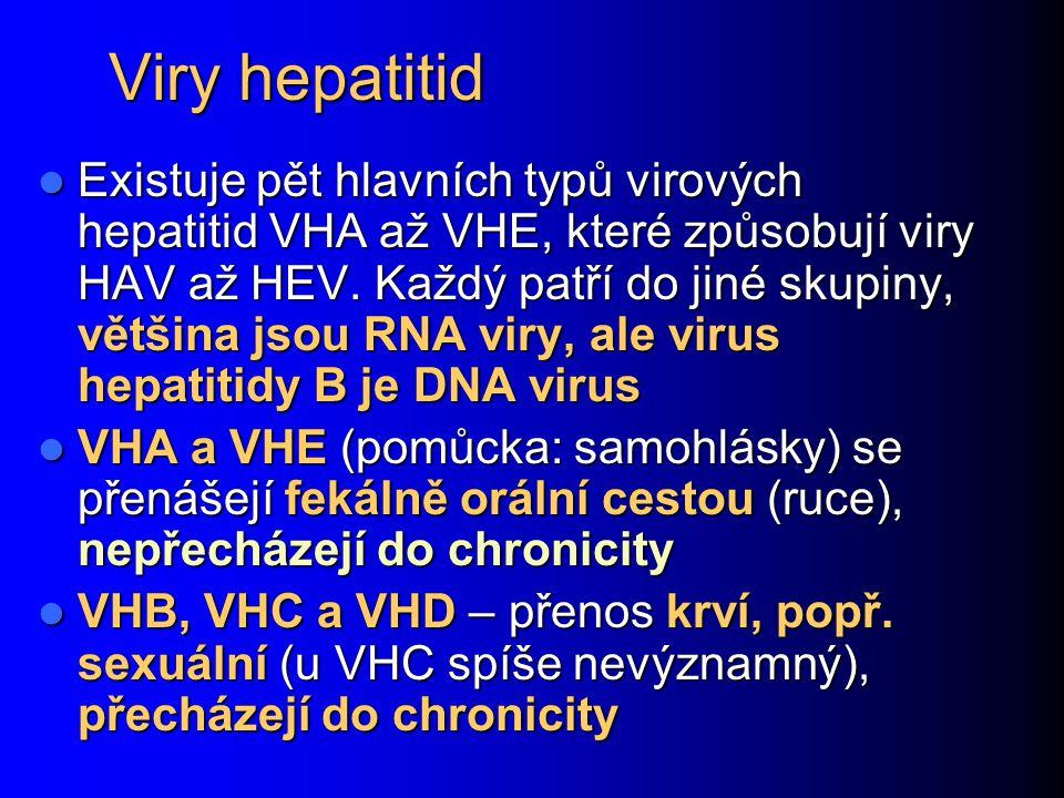 Viry hepatitid Existuje pět hlavních typů virových hepatitid VHA až VHE, které způsobují viry HAV až HEV.