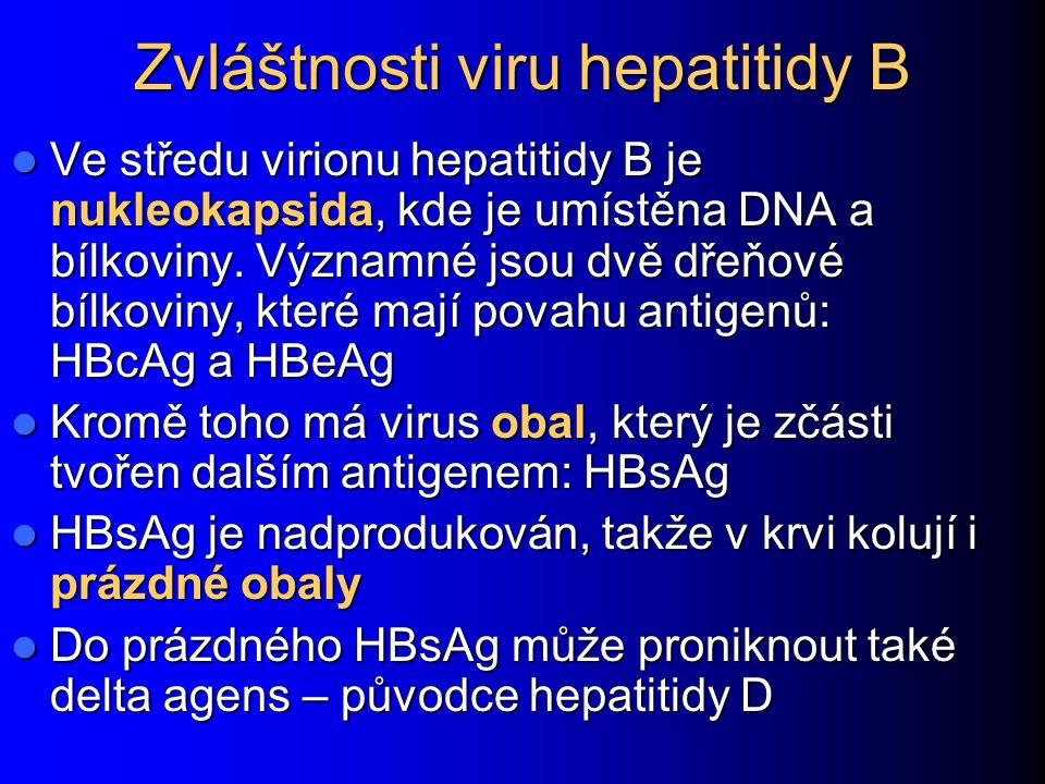 Zvláštnosti viru hepatitidy B Ve středu virionu hepatitidy B je nukleokapsida, kde je umístěna DNA a bílkoviny.