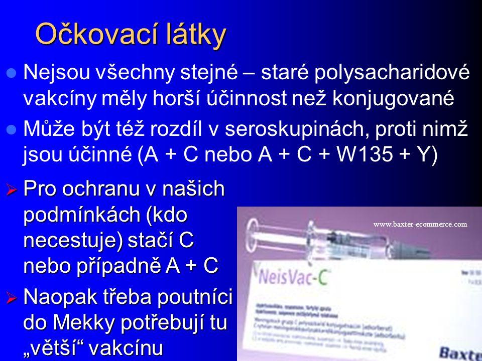 """Očkovací látky Nejsou všechny stejné – staré polysacharidové vakcíny měly horší účinnost než konjugované Může být též rozdíl v seroskupinách, proti nimž jsou účinné (A + C nebo A + C + W135 + Y) www.baxter-ecommerce.com  Pro ochranu v našich podmínkách (kdo necestuje) stačí C nebo případně A + C  Naopak třeba poutníci do Mekky potřebují tu """"větší vakcínu"""