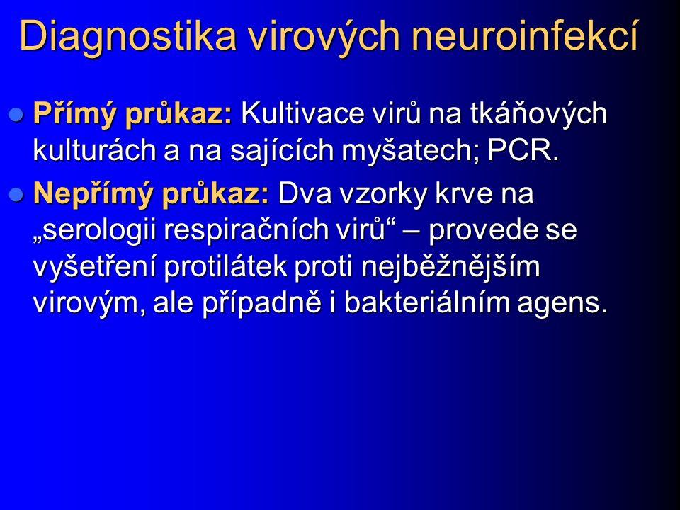 Diagnostika virových neuroinfekcí Přímý průkaz: Kultivace virů na tkáňových kulturách a na sajících myšatech; PCR.