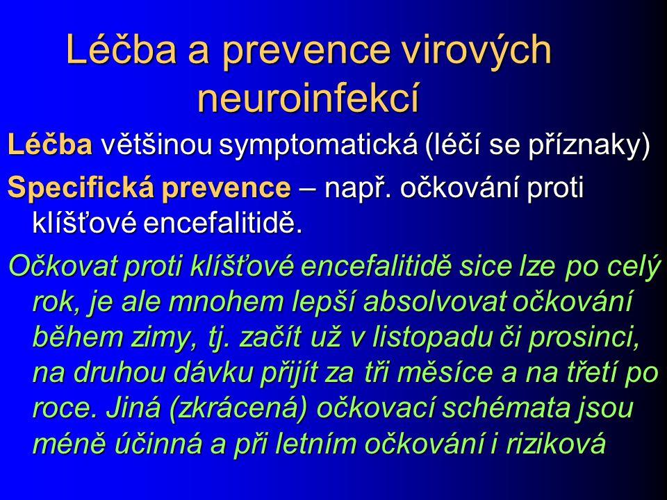 Léčba a prevence virových neuroinfekcí Léčba většinou symptomatická (léčí se příznaky) Specifická prevence – např.