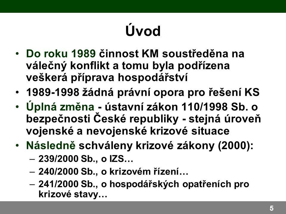 Do roku 1989 činnost KM soustředěna na válečný konflikt a tomu byla podřízena veškerá příprava hospodářství 1989-1998 žádná právní opora pro řešení KS