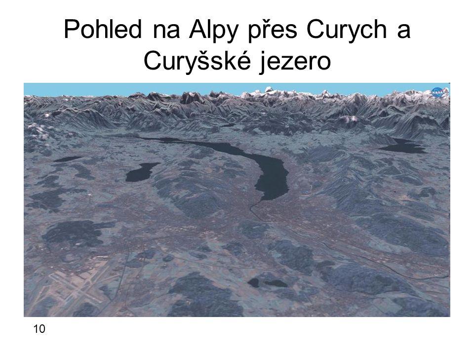 Pohled na Alpy přes Curych a Curyšské jezero 10