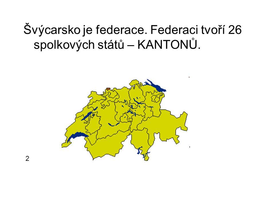 Švýcarsko je federace. Federaci tvoří 26 spolkových států – KANTONŮ. 2