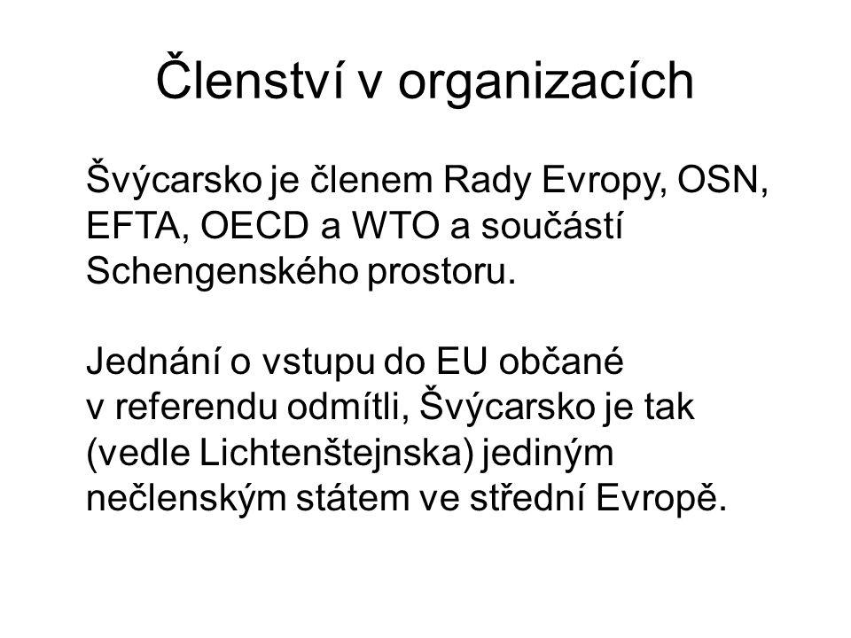 Členství v organizacích Švýcarsko je členem Rady Evropy, OSN, EFTA, OECD a WTO a součástí Schengenského prostoru. Jednání o vstupu do EU občané v refe