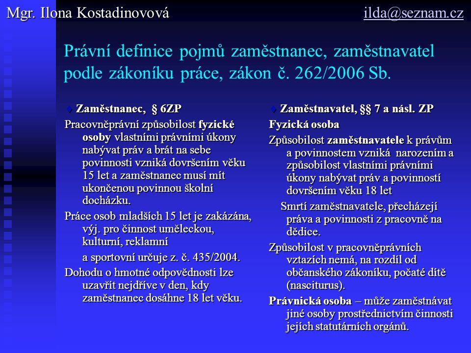 Právní definice pojmů zaměstnanec, zaměstnavatel podle zákoníku práce, zákon č.