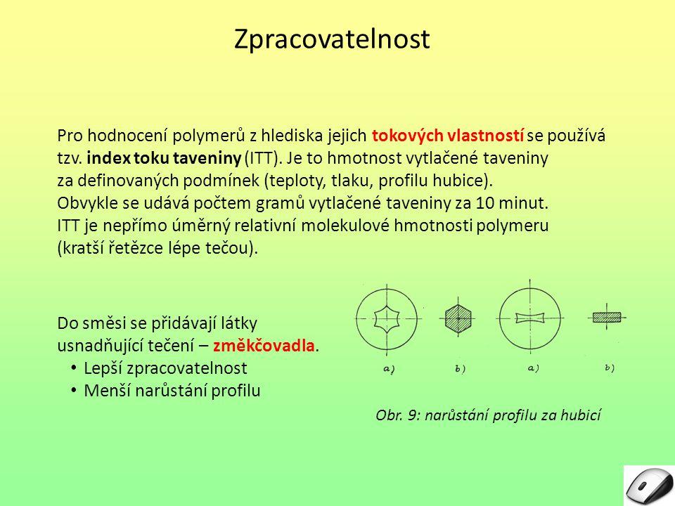 Zpracovatelnost Pro hodnocení polymerů z hlediska jejich tokových vlastností se používá tzv. index toku taveniny (ITT). Je to hmotnost vytlačené taven