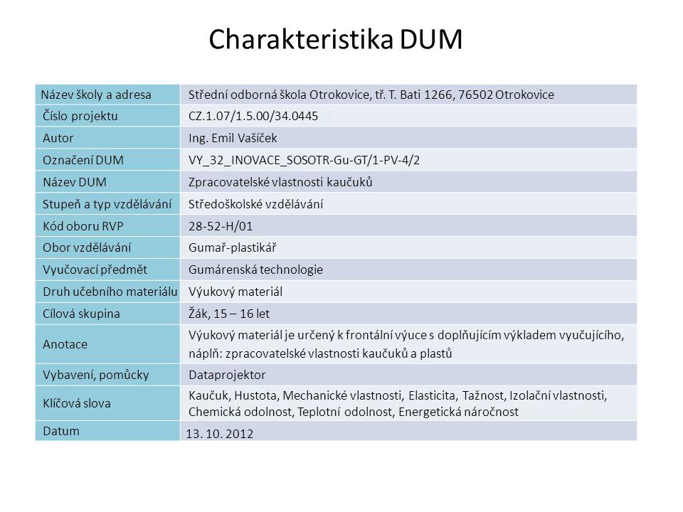 Zpracovatelské vlastnosti kaučuků Náplň výuky: Termodynamické vlastnosti Teplota skelného přechodu Tepelná vodivost Chlazení a ohřev Tepelná odolnost Zpracovatelnost Plasticita Energetická náročnost