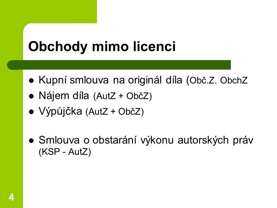 4 Obchody mimo licenci Kupní smlouva na originál díla ( Obč.Z.