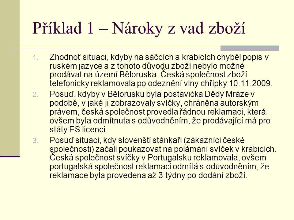 Příklad 1 – Nároky z vad zboží 1. Zhodnoť situaci, kdyby na sáčcích a krabicích chyběl popis v ruském jazyce a z tohoto důvodu zboží nebylo možné prod