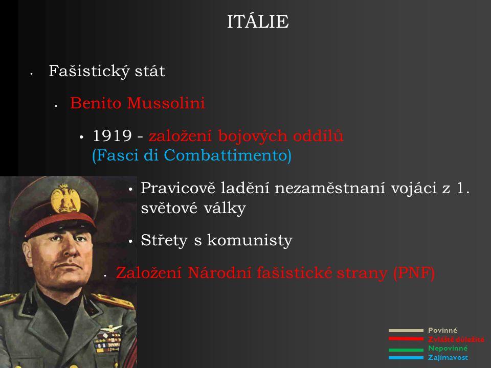 Povinné Zvláště důležité Nepovinné Zajímavost ITÁLIE Fašistický stát Benito Mussolini 1919 - založení bojových oddílů (Fasci di Combattimento) Pravicově ladění nezaměstnaní vojáci z 1.