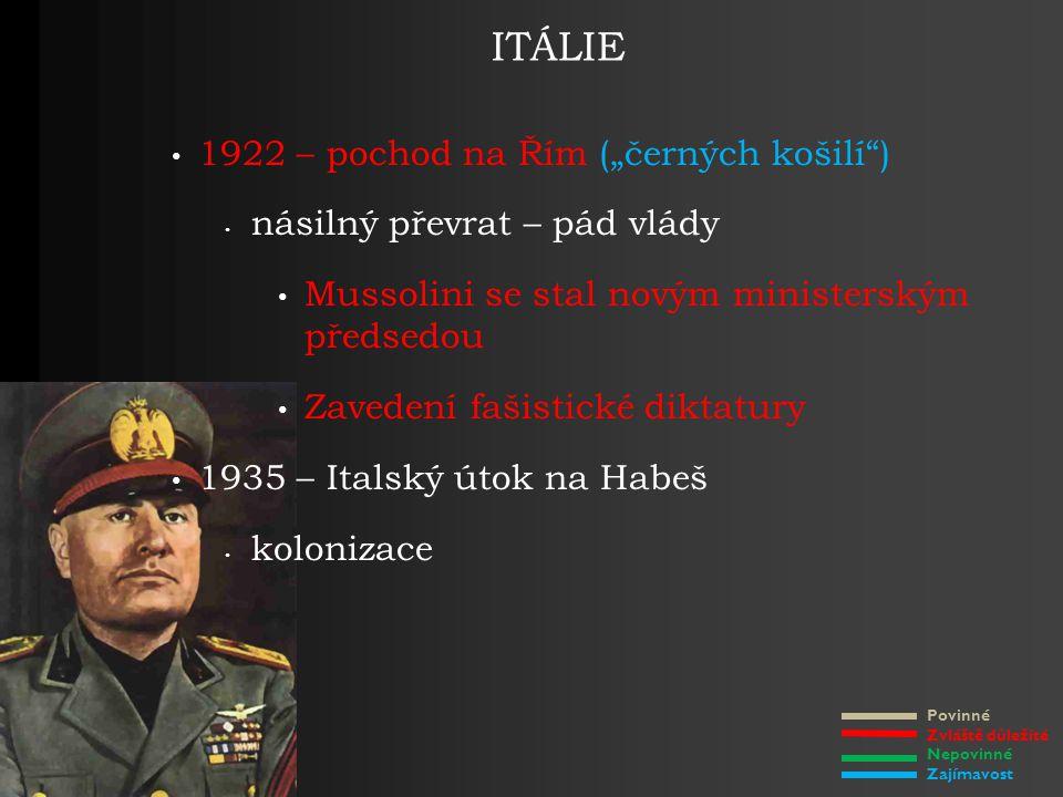 """Povinné Zvláště důležité Nepovinné Zajímavost ITÁLIE 1922 – pochod na Řím (""""černých košilí ) násilný převrat – pád vlády Mussolini se stal novým ministerským předsedou Zavedení fašistické diktatury 1935 – Italský útok na Habeš kolonizace"""