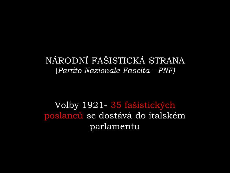 NÁRODNÍ FAŠISTICKÁ STRANA ( Partito Nazionale Fascita – PNF) Volby 1921- 35 fašistických poslanců se dostává do italském parlamentu