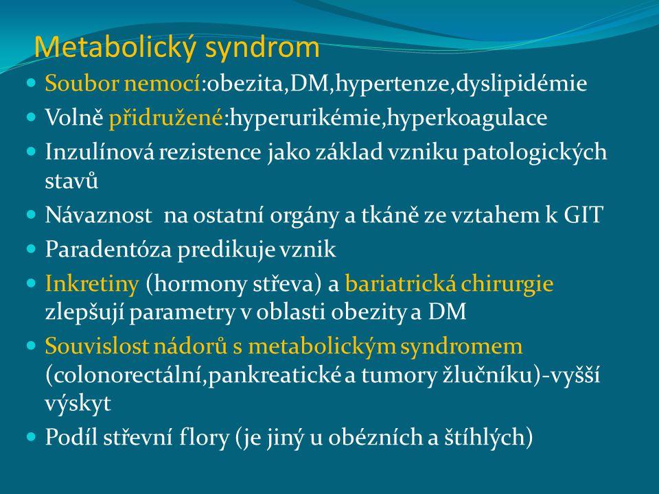 Metabolický syndrom Soubor nemocí:obezita,DM,hypertenze,dyslipidémie Volně přidružené:hyperurikémie,hyperkoagulace Inzulínová rezistence jako základ vzniku patologických stavů Návaznost na ostatní orgány a tkáně ze vztahem k GIT Paradentóza predikuje vznik Inkretiny (hormony střeva) a bariatrická chirurgie zlepšují parametry v oblasti obezity a DM Souvislost nádorů s metabolickým syndromem (colonorectální,pankreatické a tumory žlučníku)-vyšší výskyt Podíl střevní flory (je jiný u obézních a štíhlých)