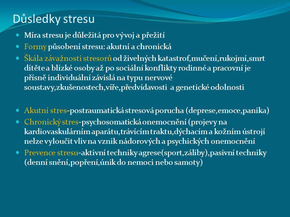 Důsledky stresu Míra stresu je důležitá pro vývoj a přežití Formy působení stresu: akutní a chronická Škála závažnosti stresorů od živelných katastrof,mučení,rukojmí,smrt dítěte a blízké osoby až po sociální konflikty rodinné a pracovní je přísně individuální závislá na typu nervové soustavy,zkušenostech,víře,předvídavosti a genetické odolnosti Akutní stres-postraumatická stresová porucha (deprese,emoce,panika) Chronický stres-psychosomatická onemocnění (projevy na kardiovaskulárním aparátu,trávícím traktu,dýchacím a kožním ústrojí nelze vyloučit vliv na vznik nádorových a psychických onemocnění Prevence stresu-aktivní techniky agrese(sport,záliby),pasivní techniky (denní snění,popření,únik do nemoci nebo samoty)