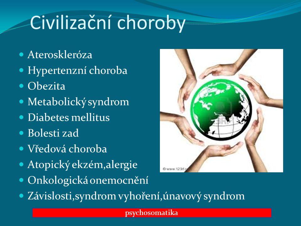 Civilizační choroby Ateroskleróza Hypertenzní choroba Obezita Metabolický syndrom Diabetes mellitus Bolesti zad Vředová choroba Atopický ekzém,alergie Onkologická onemocnění Závislosti,syndrom vyhoření,únavový syndrom psychosomatika