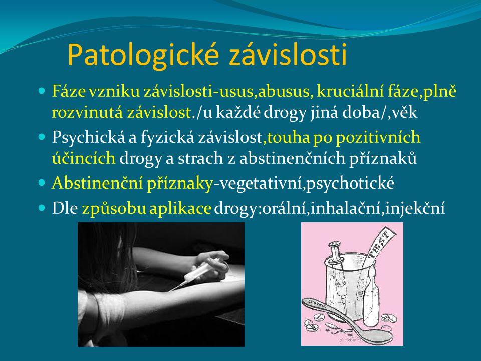 Patologické závislosti Fáze vzniku závislosti-usus,abusus, kruciální fáze,plně rozvinutá závislost./u každé drogy jiná doba/,věk Psychická a fyzická závislost,touha po pozitivních účincích drogy a strach z abstinenčních příznaků Abstinenční příznaky-vegetativní,psychotické Dle způsobu aplikace drogy:orální,inhalační,injekční
