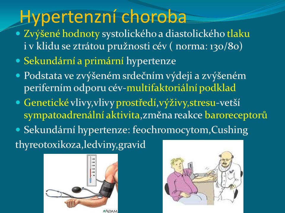 Hypertenzní choroba Zvýšené hodnoty systolického a diastolického tlaku i v klidu se ztrátou pružnosti cév ( norma: 130/80) Sekundární a primární hypertenze Podstata ve zvýšeném srdečním výdeji a zvýšeném periferním odporu cév-multifaktoriální podklad Genetické vlivy,vlivy prostředí,výživy,stresu-vetší sympatoadrenální aktivita,změna reakce baroreceptorů Sekundární hypertenze: feochromocytom,Cushing thyreotoxikoza,ledviny,gravid