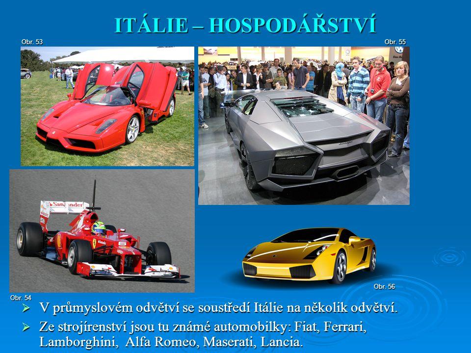  V průmyslovém odvětví se soustředí Itálie na několik odvětví.  Ze strojírenství jsou tu známé automobilky: Fiat, Ferrari, Lamborghini, Alfa Romeo,