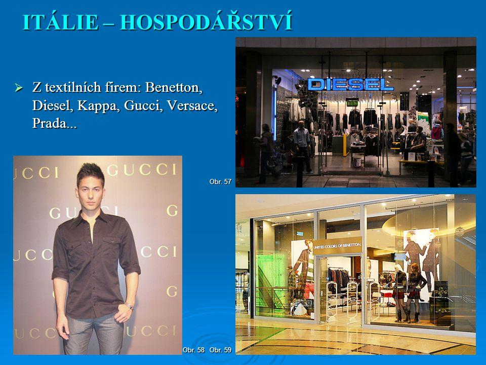  Z textilních firem: Benetton, Diesel, Kappa, Gucci, Versace, Prada... ITÁLIE – HOSPODÁŘSTVÍ Obr. 59 Obr. 58 Obr. 57