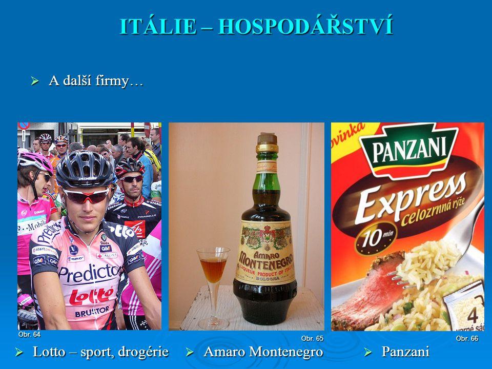 A další firmy… ITÁLIE – HOSPODÁŘSTVÍ  Lotto – sport, drogérie Obr. 64 Obr. 65  Amaro Montenegro Obr. 66  Panzani