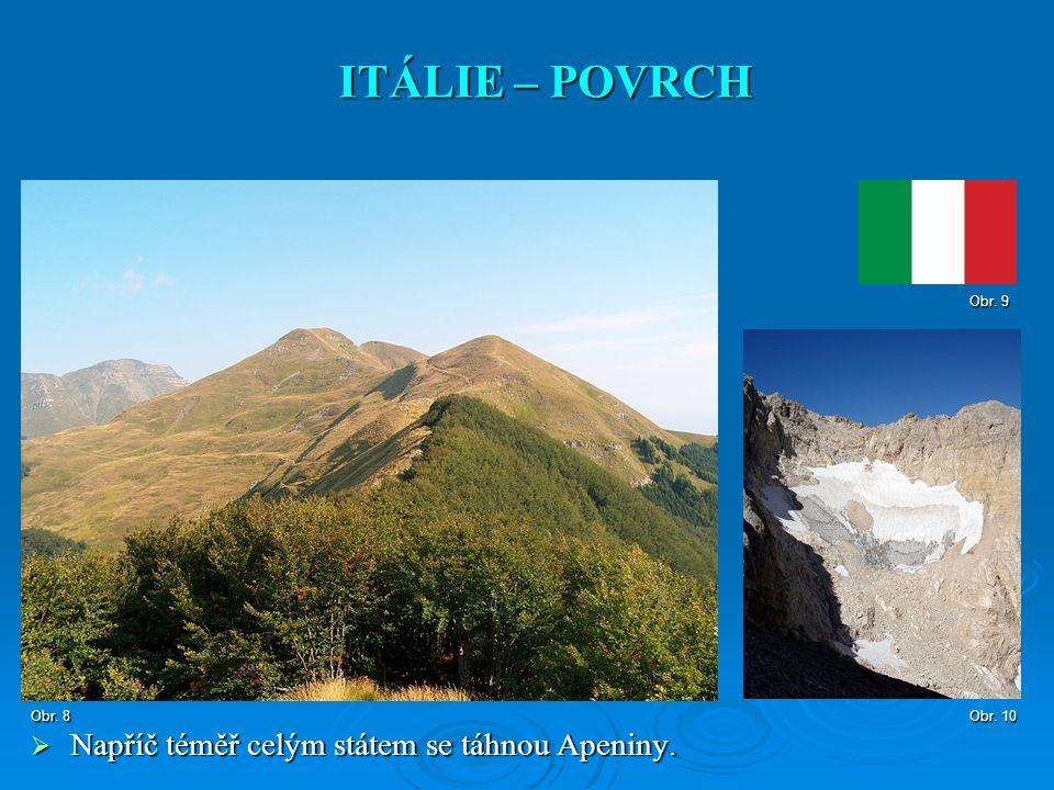  Napříč téměř celým státem se táhnou Apeniny. ITÁLIE – POVRCH Obr. 8 Obr. 10 Obr. 9
