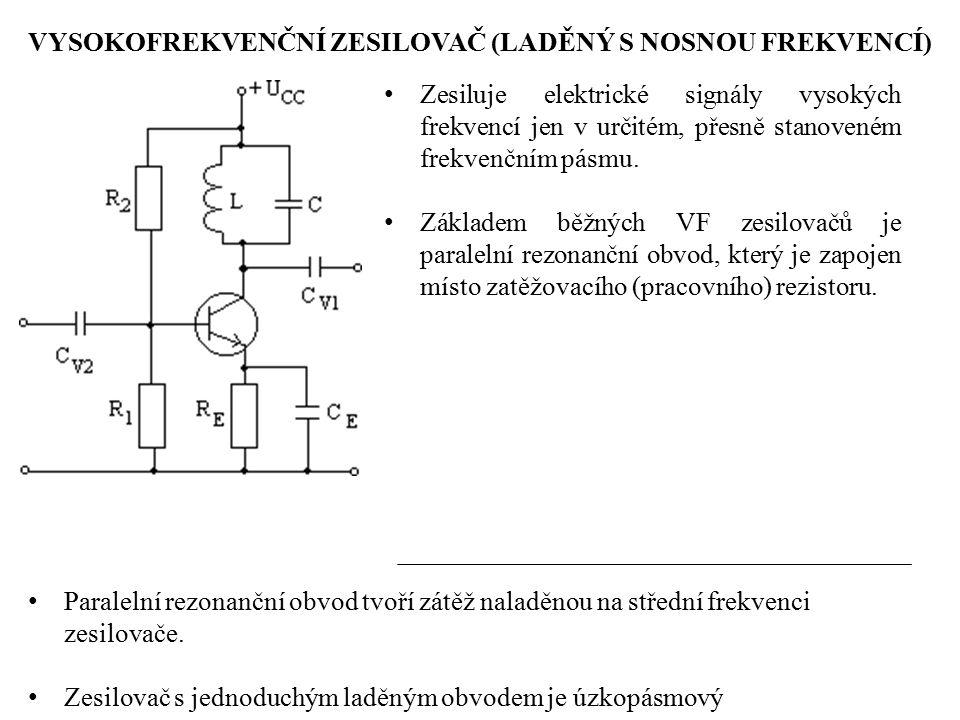 VYSOKOFREKVENČNÍ ZESILOVAČ (LADĚNÝ S NOSNOU FREKVENCÍ) Zesiluje elektrické signály vysokých frekvencí jen v určitém, přesně stanoveném frekvenčním pás