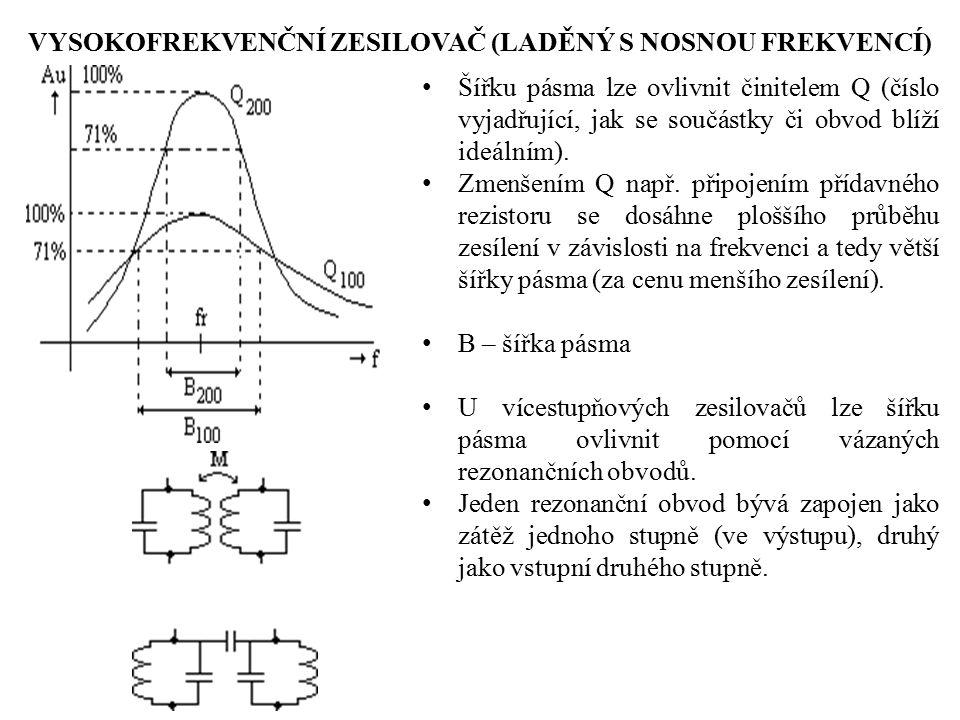 VYSOKOFREKVENČNÍ ZESILOVAČ (LADĚNÝ S NOSNOU FREKVENCÍ) Šířku pásma lze ovlivnit činitelem Q (číslo vyjadřující, jak se součástky či obvod blíží ideáln