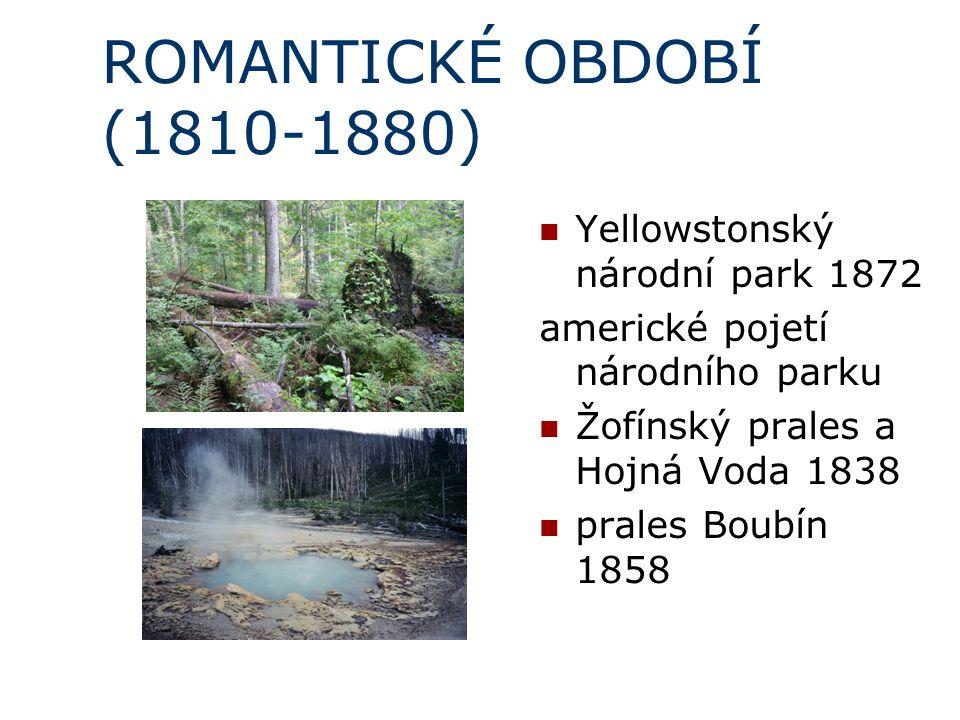 ROMANTICKÉ OBDOBÍ (1810-1880) Yellowstonský národní park 1872 americké pojetí národního parku Žofínský prales a Hojná Voda 1838 prales Boubín 1858