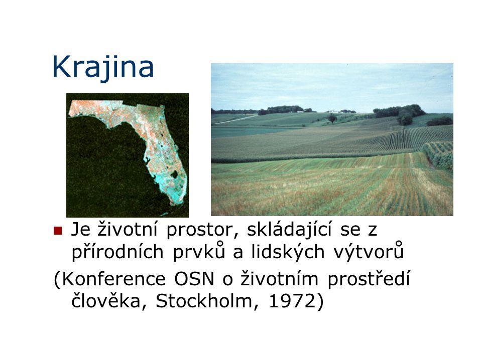 Krajina Je životní prostor, skládající se z přírodních prvků a lidských výtvorů (Konference OSN o životním prostředí člověka, Stockholm, 1972)