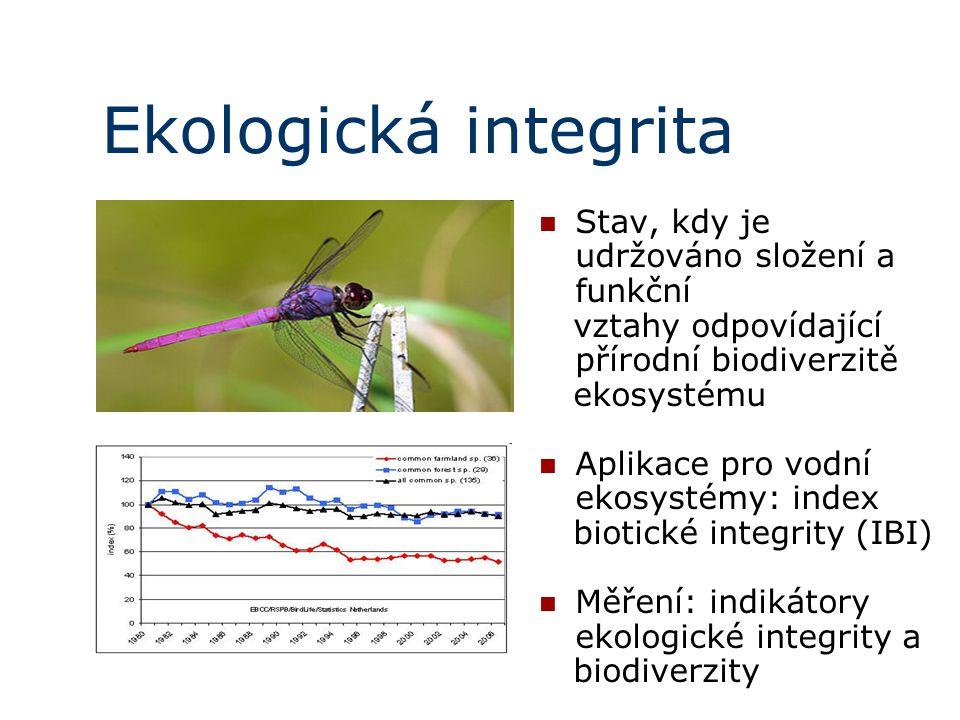 Ekologická integrita Stav, kdy je udržováno složení a funkční vztahy odpovídající přírodní biodiverzitě ekosystému Aplikace pro vodní ekosystémy: inde