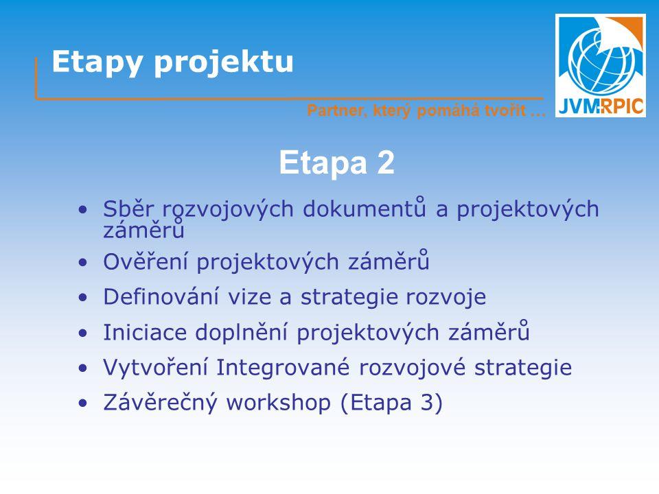 Etapy projektu Sběr rozvojových dokumentů a projektových záměrů Ověření projektových záměrů Definování vize a strategie rozvoje Iniciace doplnění projektových záměrů Vytvoření Integrované rozvojové strategie Závěrečný workshop (Etapa 3) Etapa 2 Partner, který pomáhá tvořit …