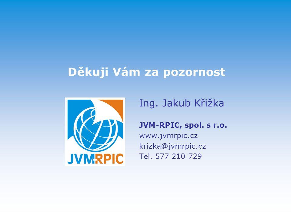 Děkuji Vám za pozornost Ing.Jakub Křižka JVM-RPIC, spol.