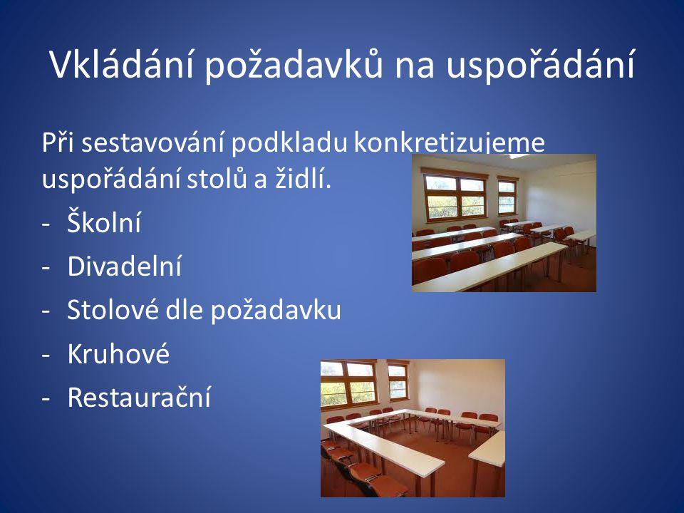 Vkládání požadavků na uspořádání Při sestavování podkladu konkretizujeme uspořádání stolů a židlí. -Školní -Divadelní -Stolové dle požadavku -Kruhové