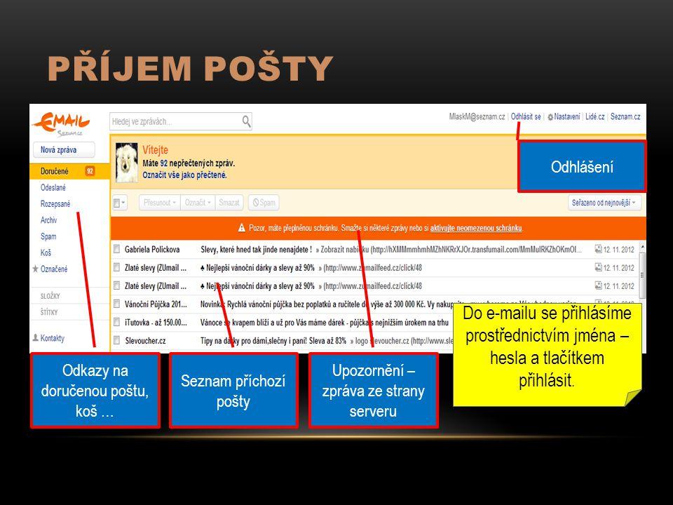 PŘÍJEM POŠTY Odkazy na doručenou poštu, koš … Seznam příchozí pošty Upozornění – zpráva ze strany serveru Odhlášení Do e-mailu se přihlásíme prostřednictvím jména – hesla a tlačítkem přihlásit.