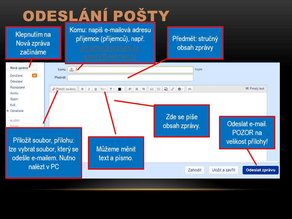 ODESLÁNÍ POŠTY Klepnutím na Nová zpráva začínáme Komu: napiš e-mailová adresu příjemce (příjemců), např. jan.janek@seznam.cz, ajda14@seznam.cz jan.jan