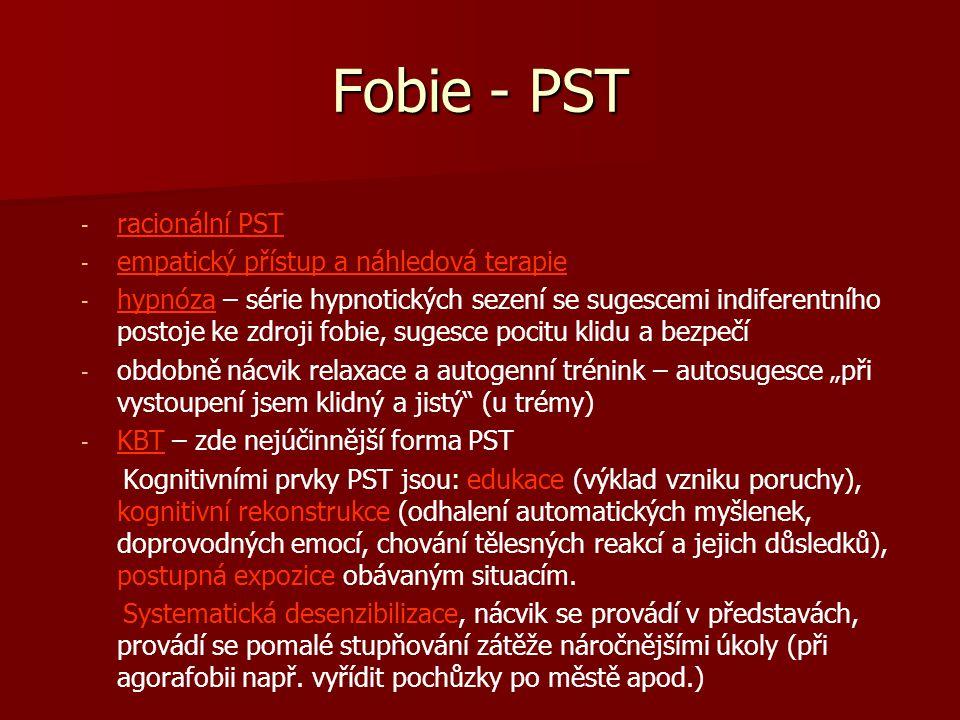 Fobie - PST - - racionální PST - - empatický přístup a náhledová terapie - - hypnóza – série hypnotických sezení se sugescemi indiferentního postoje k