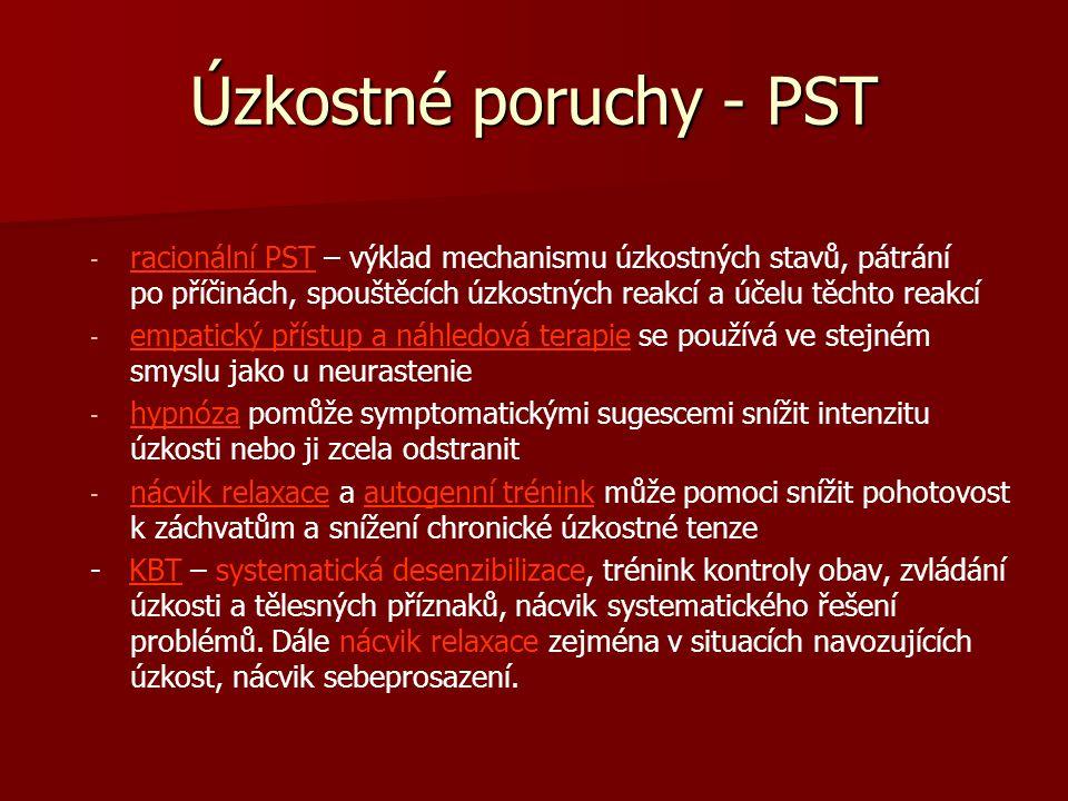 Úzkostné poruchy - PST - - racionální PST – výklad mechanismu úzkostných stavů, pátrání po příčinách, spouštěcích úzkostných reakcí a účelu těchto rea