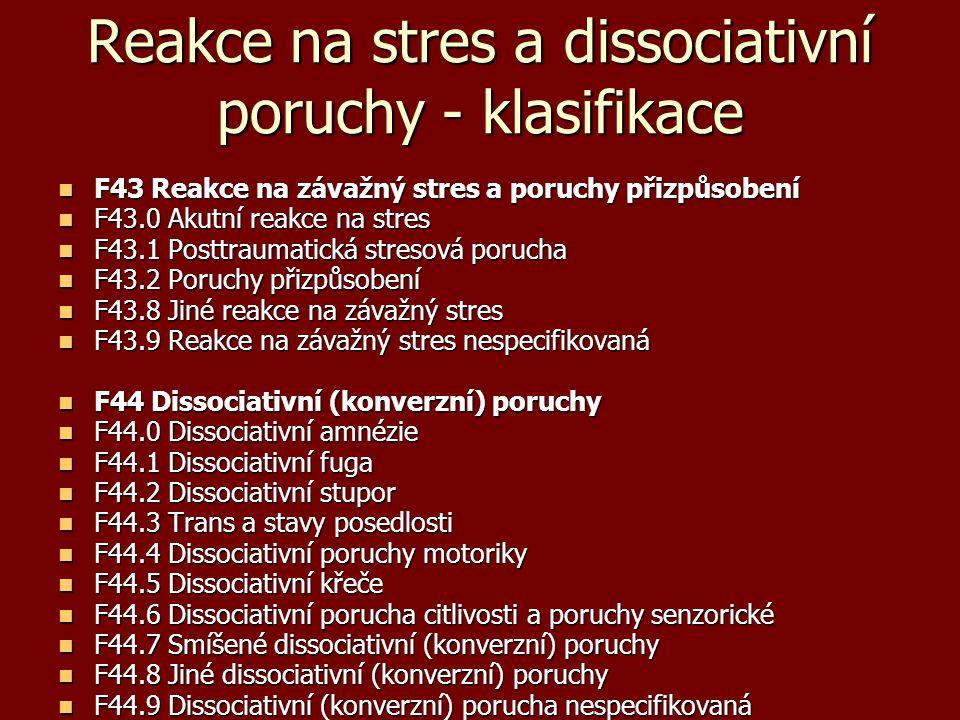 Reakce na stres a dissociativní poruchy - klasifikace F43 Reakce na závažný stres a poruchy přizpůsobení F43 Reakce na závažný stres a poruchy přizpůs