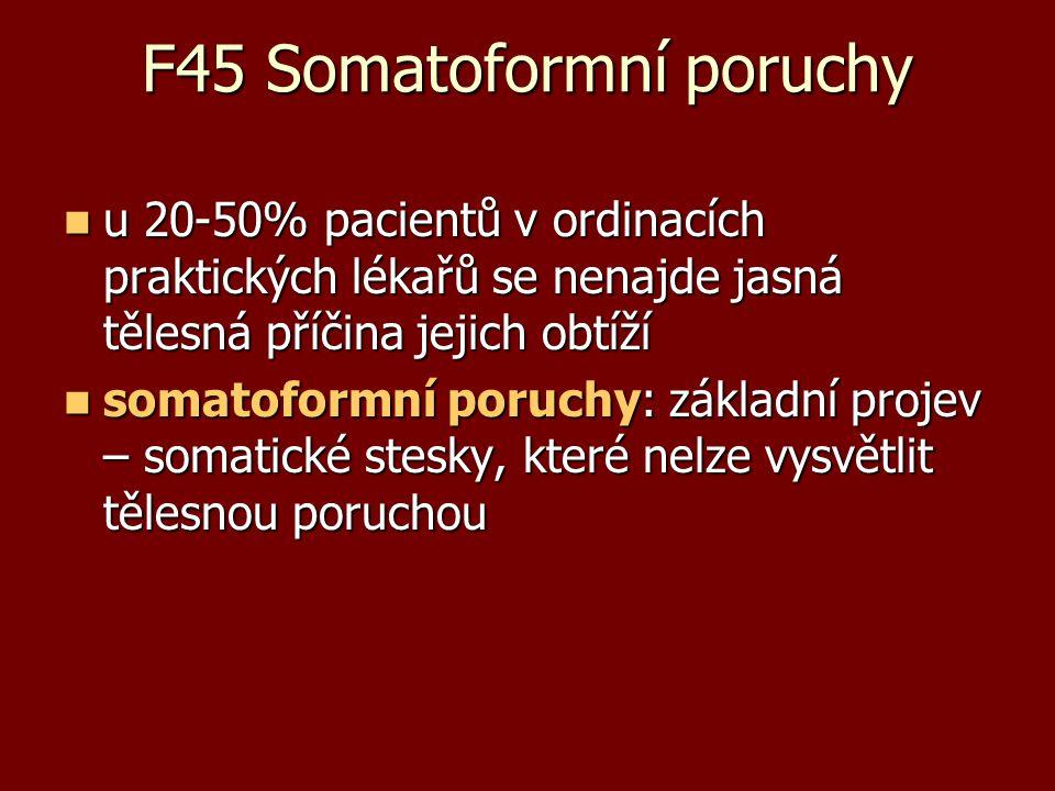 F45 Somatoformní poruchy u 20-50% pacientů v ordinacích praktických lékařů se nenajde jasná tělesná příčina jejich obtíží u 20-50% pacientů v ordinací