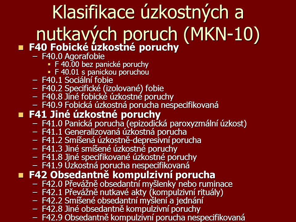 Klasifikace úzkostných a nutkavých poruch (MKN-10) F40 Fobické úzkostné poruchy F40 Fobické úzkostné poruchy –F40.0 Agorafobie  F 40.00 bez panické p