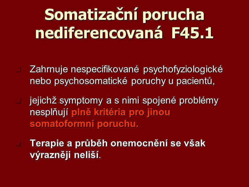 Somatizační porucha nediferencovaná F45.1 Zahrnuje nespecifikované psychofyziologické nebo psychosomatické poruchy u pacientů, Zahrnuje nespecifikovan