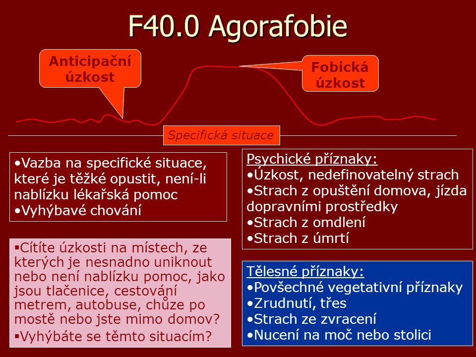 F40.0 Agorafobie agorafobie – abnormní obavy nejen z velkých, ale i uzavřených prostor (dříve klaustrofobie) agorafobie – abnormní obavy nejen z velkých, ale i uzavřených prostor (dříve klaustrofobie) snaha vyhnout se specifickým místům a situacím = vyhýbavé chování snaha vyhnout se specifickým místům a situacím = vyhýbavé chování příznaky vegetativní aktivace příznaky vegetativní aktivace příznaky vztahující se k ke hrudi nebo břichu příznaky vztahující se k ke hrudi nebo břichu příznaky vztahující se k duševnímu stavu příznaky vztahující se k duševnímu stavu všeobecné příznaky všeobecné příznaky léčba farmakologická: léčba farmakologická: –antidepresiva –anxiolytika (pozor na toleranci a závislost) léčba psychoterapeutická léčba psychoterapeutická –kognitivně-behaviorální terapie (KBT)